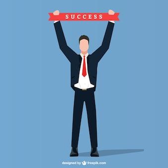 Biznesmen z sukcesu wstążką