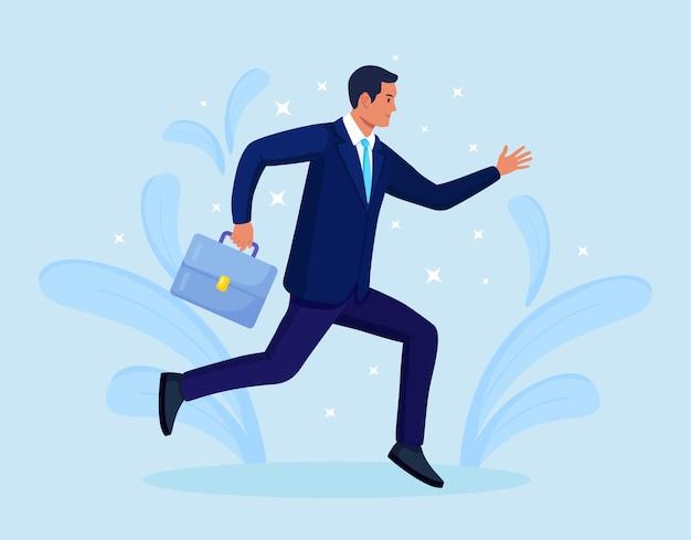 Biznesmen z teczką działa szybko do przodu. spóźniony biznesmen spieszący się, aby zdążyć na czas. na krótko przed terminem