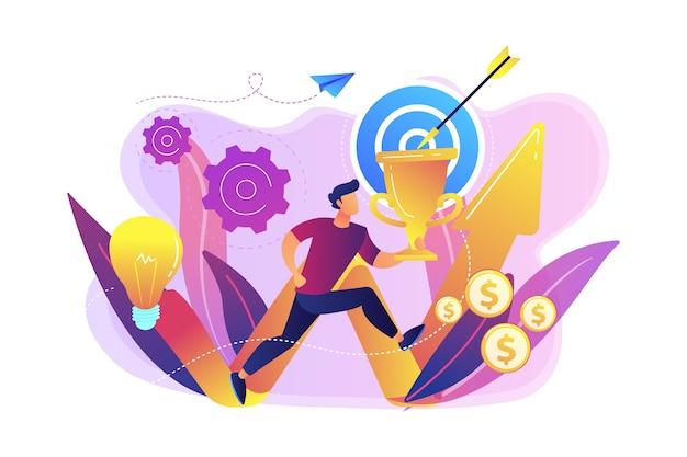 Biznesmen z trofeum, bieganie i powstająca strzała. misja biznesowa, deklaracja misji, koncepcja celów biznesowych