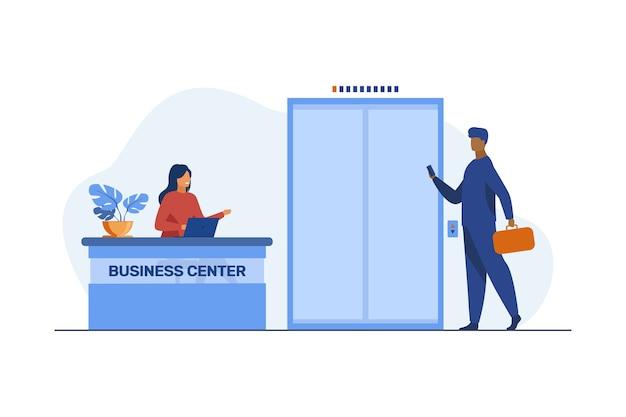 Biznesmen z walizką przyjeżdża do centrum biznesowego. recepcja, praca, zawód ilustracja płaski.