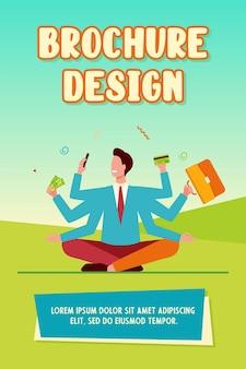 Biznesmen z wieloma ramionami szablon broszury