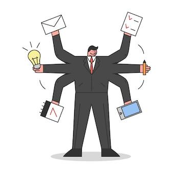 Biznesmen z wieloma rękami trzymając materiały biurowe w ramionach.