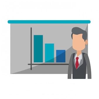 Biznesmen z wykresu statystyk na tablicy