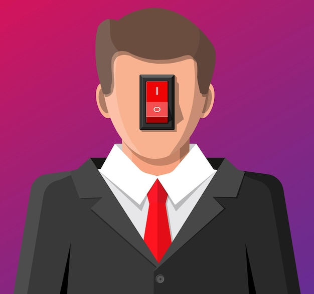 Biznesmen Z Wyłącznikiem Zasilania W Głowie. Switcher Włącza Mózg W Poszukiwaniu Dobrych Pomysłów. Selektor Produktywności, Pracy, Kreatywności I Motywacji. Wyłącz Negatywne Myślenie. Płaska Ilustracja Wektorowa Premium Wektorów