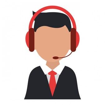 Biznesmen z zestawem słuchawkowym