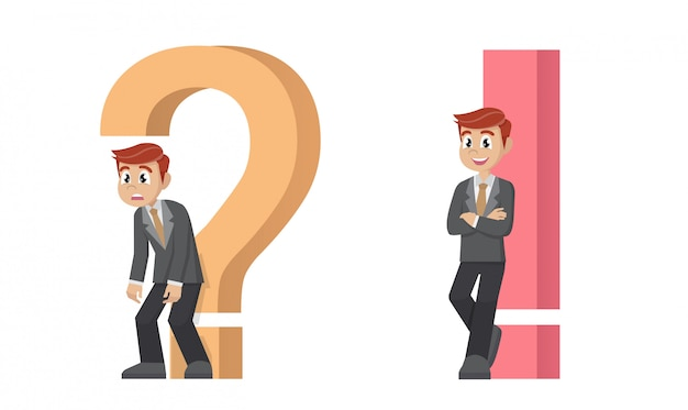 Biznesmen z zestawem znak zapytania i wykrzyknik