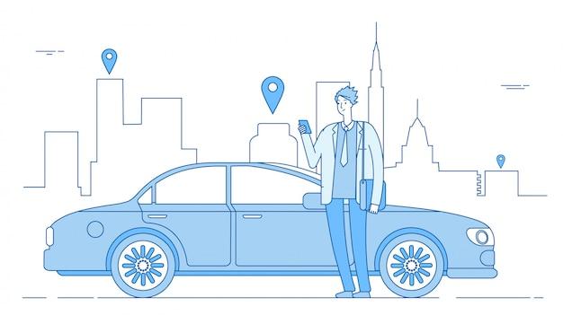 Biznesmen za pomocą aplikacji wynajmu samochodu