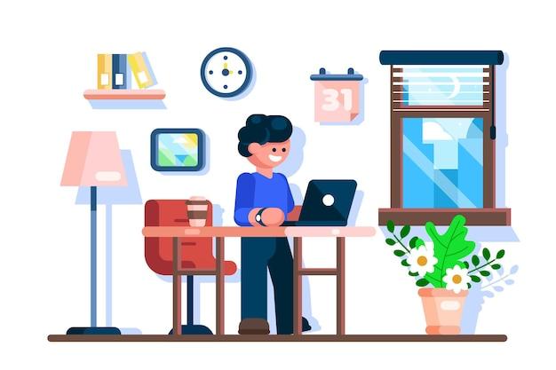Biznesmen za pomocą laptopa w biurze biurko w miejscu pracy