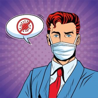 Biznesmen za pomocą maski i zatrzymać styl pop-artu covid19 wiadomość