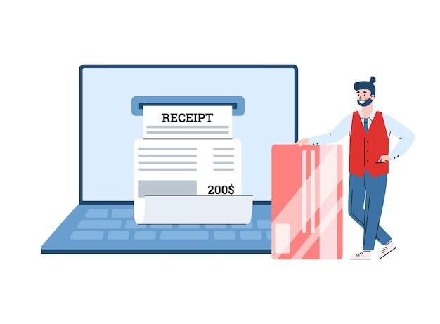 Biznesmen zaangażował się w płatności online i zarządzanie elektronicznym rachunkiem cyfrowym