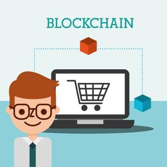 Biznesmen zakupy online blockchain e-commerce