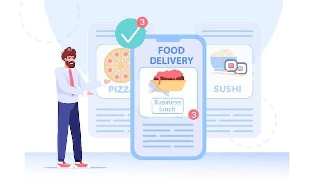 Biznesmen zamawia jedzenie na obiad w aplikacji