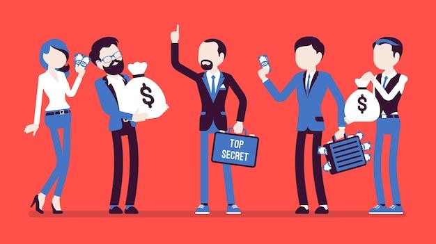 Biznesmen zapewnia poufną, chronioną wymianę danych za pieniądze