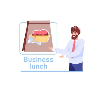 Biznesmen zaprasza do zamówienia usługi dostawy obiadów biznesowych
