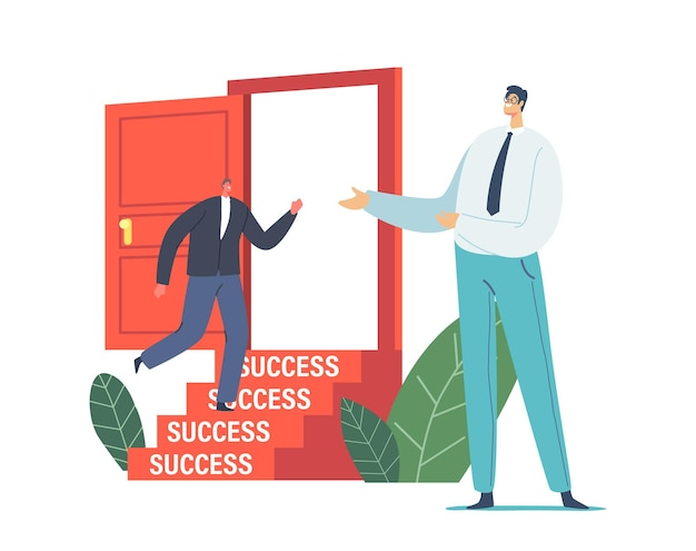 Biznesmen zaproś inną postać biznesmena w formalnym garniturze, aby wszedł do otwartych drzwi ze schodami do sukcesu. nowe możliwości pracy, wyzwanie, rozwój kariery, koncepcja zatrudnienia. ilustracja kreskówka wektor