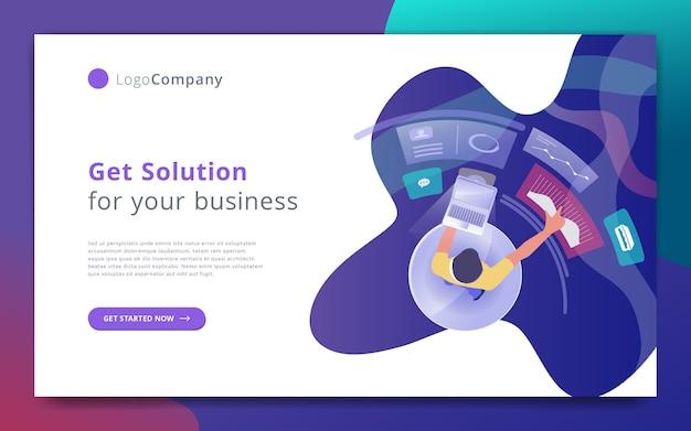 Biznesmen zarządza infographic szablon strony internetowej i studiuje