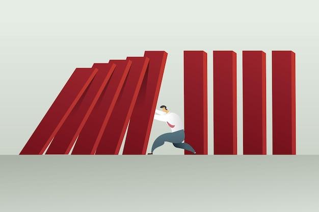 Biznesmen zatrzymanie efektu zarządzania kryzysowego finanse reakcji łańcuchowej