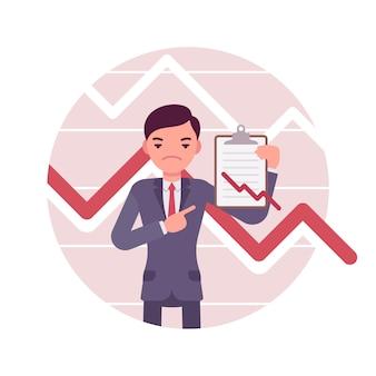 Biznesmen ze schowka. negatywne wykresy i wykresy