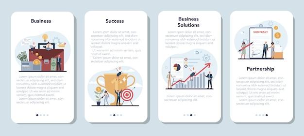 Biznesmen zestaw transparentu aplikacji mobilnych. idea strategii i osiągnięć w pracy zespołowej.