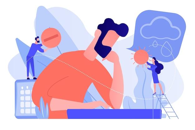 Biznesmen źle się czuje z objawami depresji, drobni ludzie. sezonowe zaburzenia afektywne, zaburzenia nastroju, koncepcja leczenia objawów depresji. różowawy koralowy wektor bluevector na białym tle ilustracja