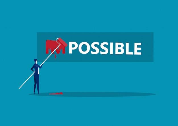 Biznesmen zmiana słowa niemożliwym do możliwego z kolorem czerwonym