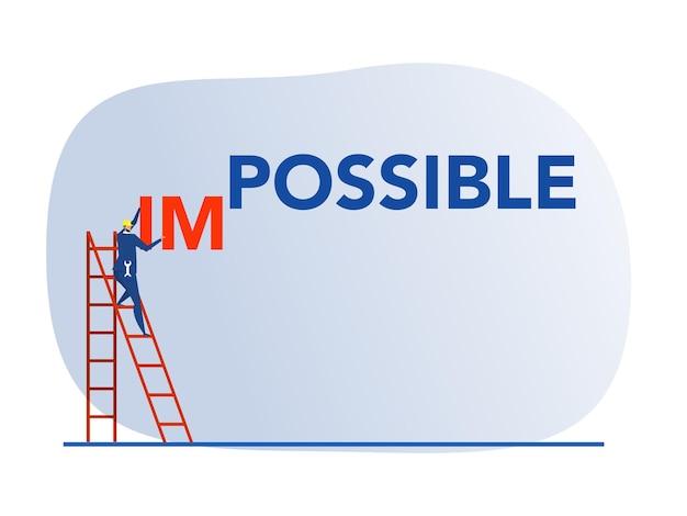 Biznesmen zmieniający niemożliwe do możliwego słowa na niebieskim tle