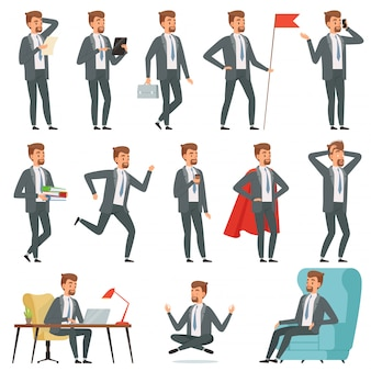 Biznesmen znaków. zestaw biznesmen w różnych pozach działania