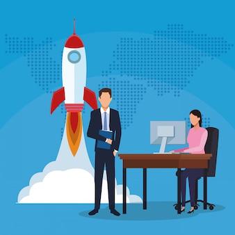 Biznesmena bizneswomanu komputeru pracująca rakieta