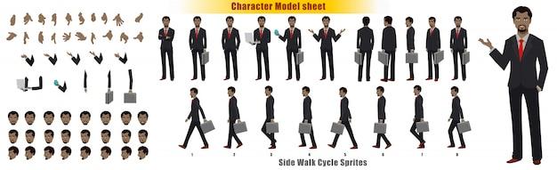 Biznesmena charakteru modela prześcieradło z spaceru cyklu animaci sprites prześcieradłem
