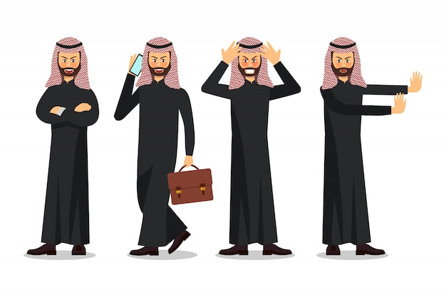 Biznesmena charakteru projekt, muzułmański biznesmen