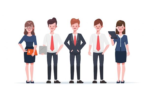 Biznesmena i bizneswomanu postać z kreskówki na bielu