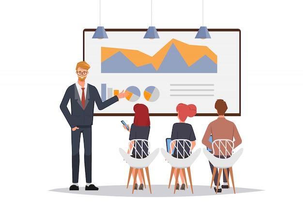 Biznesmena i kolegi seminarium spotkanie z whiteboard.