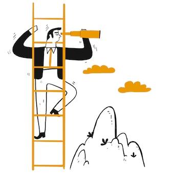Biznesmena lider wspinać się schodek osiągać szczyt