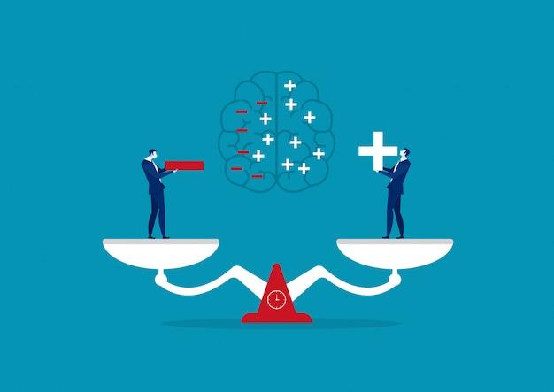 Biznesmena mienia pozytywna i negatywna myśląca ilustracja