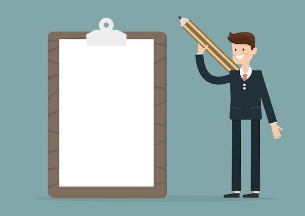 Biznesmena mienia schowek z pustym białym papierem