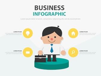 Biznesmena mienia torby infographic prezentacja