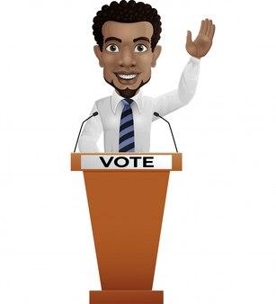Biznesmena mówca na prezentaci podium