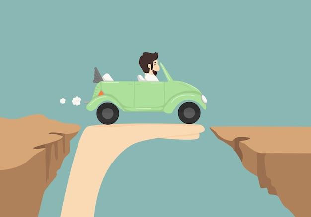 Biznesmena napędowy samochód na ręce