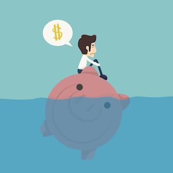 Biznesmena obsiadanie na piggybank, biznesmen żadny pieniądze
