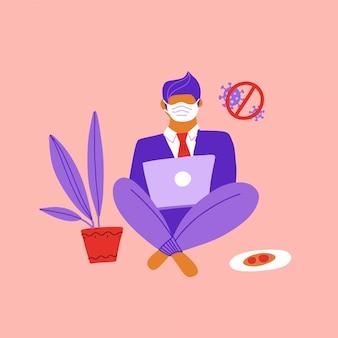 Biznesmena obsiadanie na podłoga i działanie z laptopem w sieci społecznościowe. praca w domu podczas epidemii wirusa covid-19, firma dystansująca się od społeczności pozwala pracownikom pracować w domu, aby zapobiec infekcji wirusowej