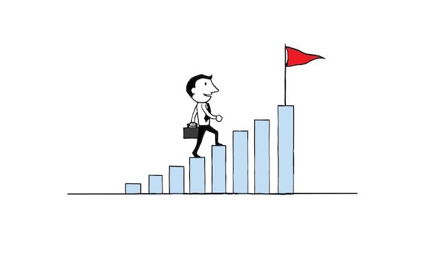 Biznesmena odprowadzenie na narastającym wykresie