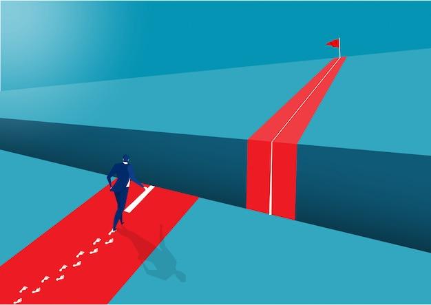 Biznesmena odprowadzenie naprzód sukcesu pojęcie