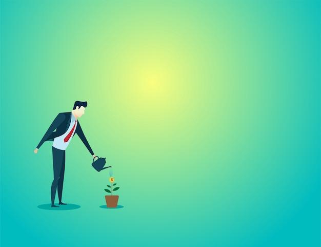 Biznesmena podlewania rośliny celu wzrostowy finanse