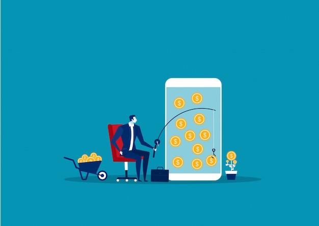 Biznesmena połowu pieniądze na smartphone pojęcia chwyta gotówce