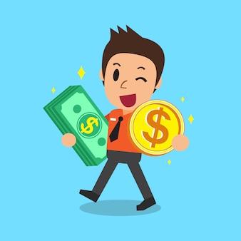 Biznesmena przewożenia pieniądze moneta i sterta