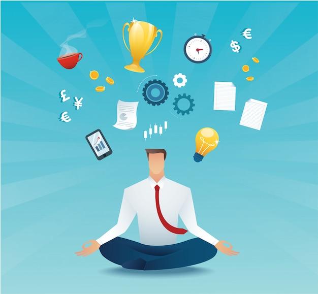 Biznesmena siedzący medytować