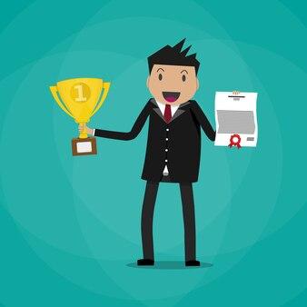 Biznesmena zwycięzca trzyma świadectwo i trofeum