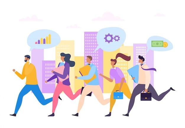 Biznesmeni biega sukcesu przywódctwo pracy zespołowej ilustrację. specjaliści budują karierę, wykazując się kompetencjami.