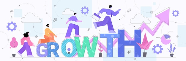 Biznesmeni bieganie strzałka wykres w górę wzrost finansowy sukces biznesowy