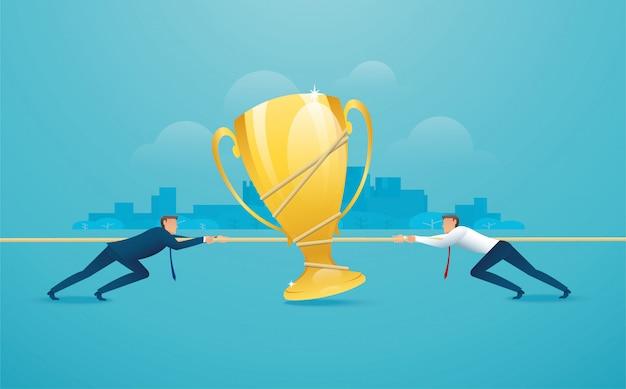 Biznesmeni ciągną linę z trofeum